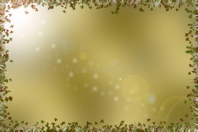 Złoty brown tło z granicą liście, trawa i raca, ilustracja wektor
