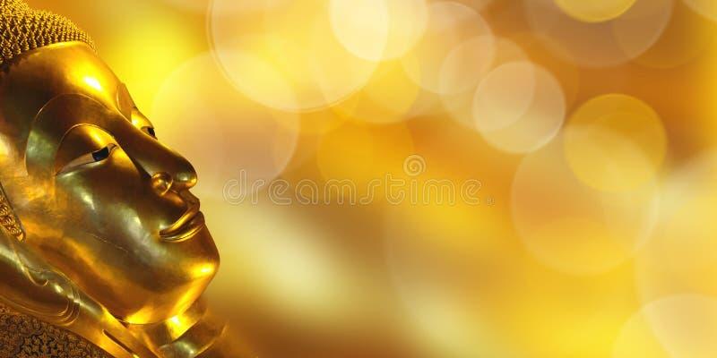 Złoty Buddha kierowniczy panoramiczny tło z kopii przestrzenią zdjęcie royalty free