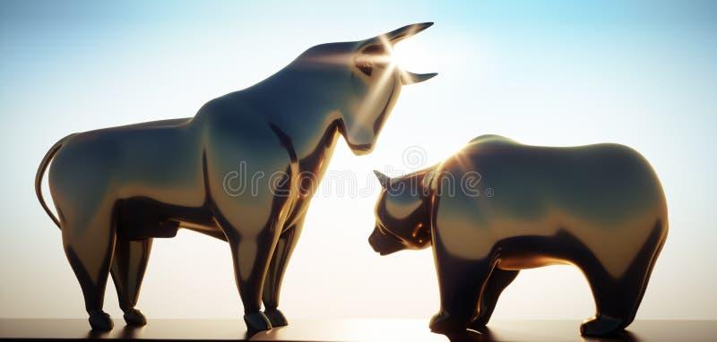 Złoty byk i niedźwiedź w świetle słonecznym 2 royalty ilustracja