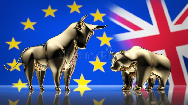 Złoty byk i niedźwiedź z flagami Europa i Anglia - pojęcia brexit royalty ilustracja