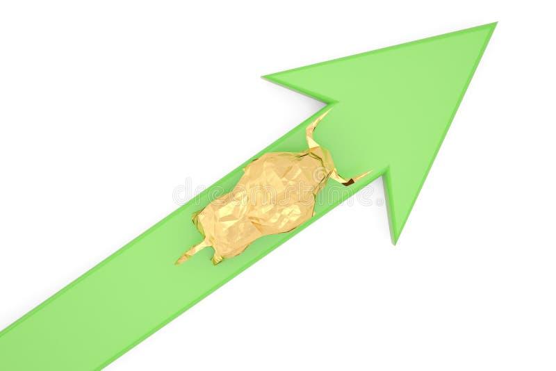 Złoty byk i zielona mapa na białym tła 3d illustratio ilustracja wektor