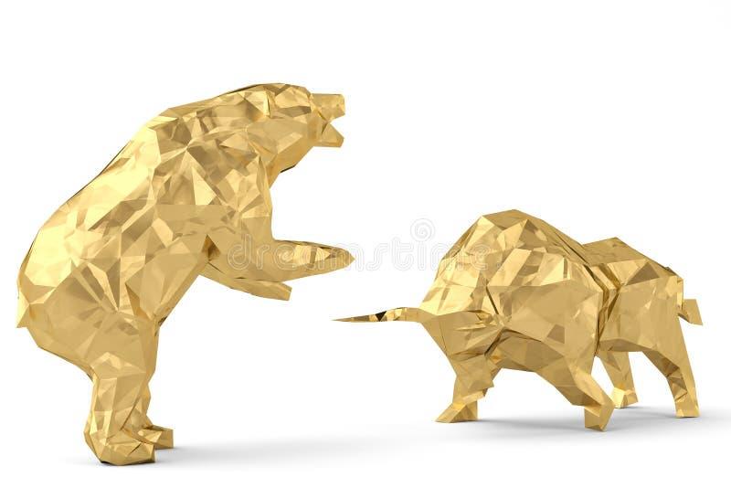 Złoty byk z niedźwiedziem na białej tła 3d ilustraci royalty ilustracja