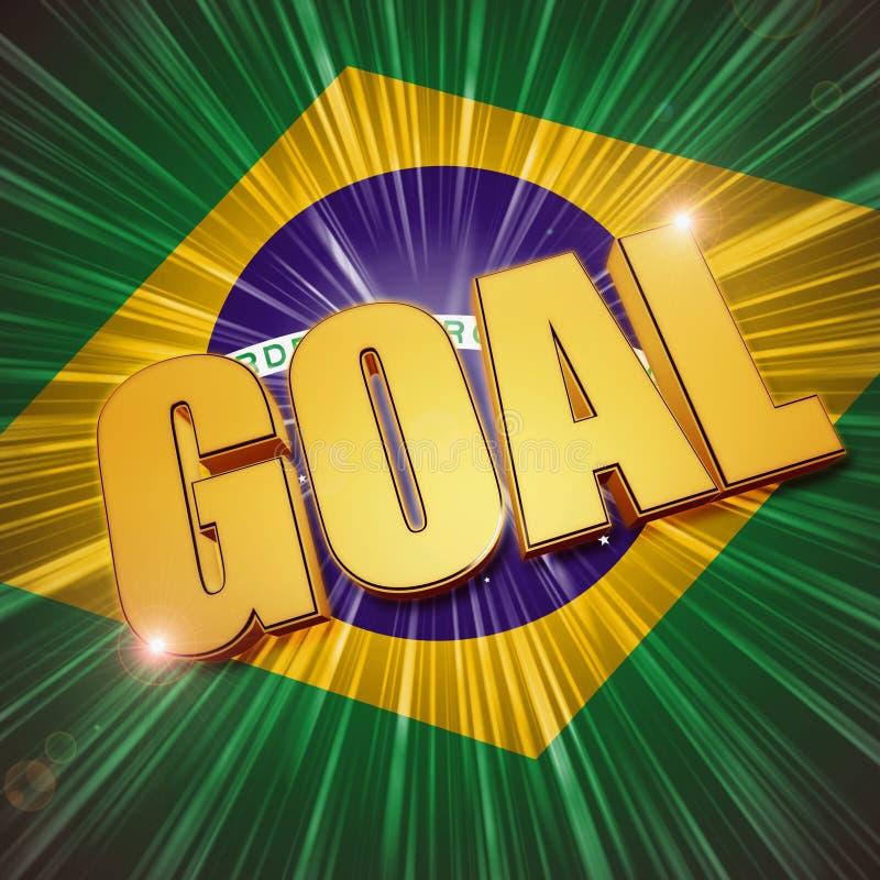 Złoty cel nad brazylijczyk flaga ilustracji