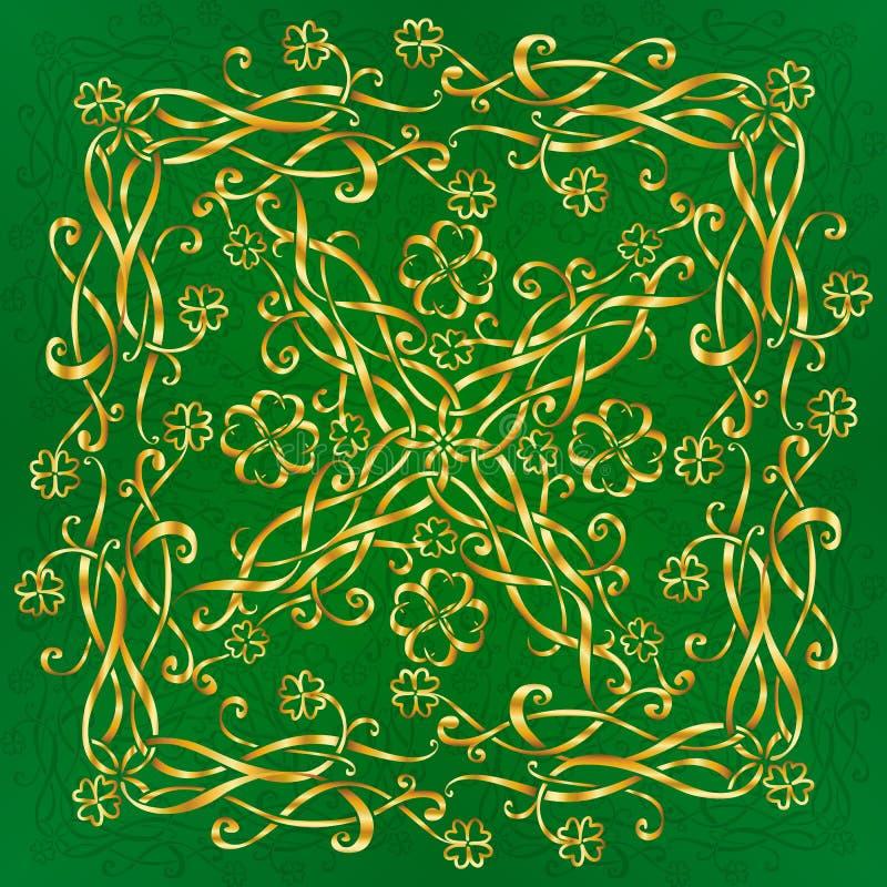 Złoty celta stylu rocznika ornament z koniczyny Patrick dnia wzoru wektorową płytką ilustracji