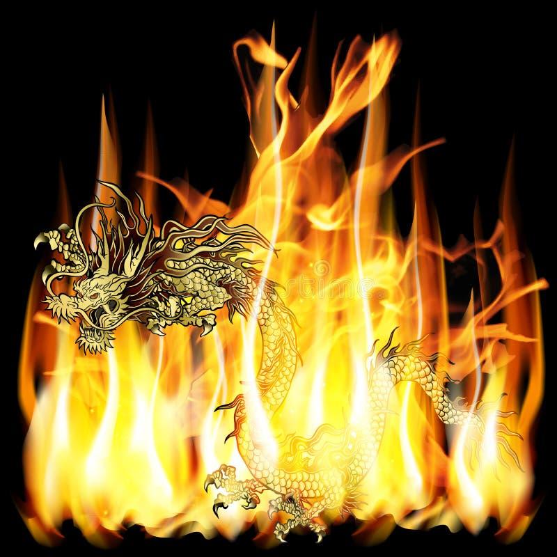 Złoty Chiński smok z ogieniem ilustracji