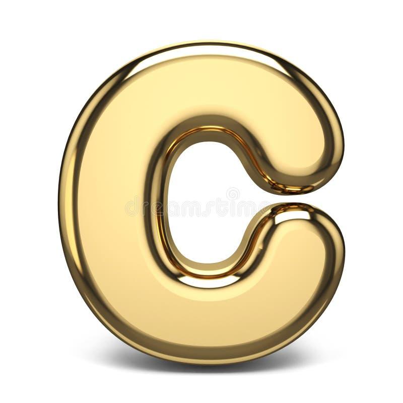 Złoty chrzcielnica list C 3D ilustracji
