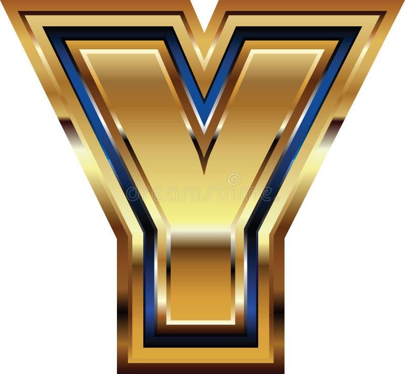 Złoty chrzcielnica list Y ilustracja wektor