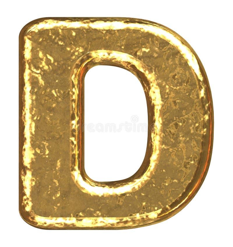 złoty chrzcielnicy literę d royalty ilustracja