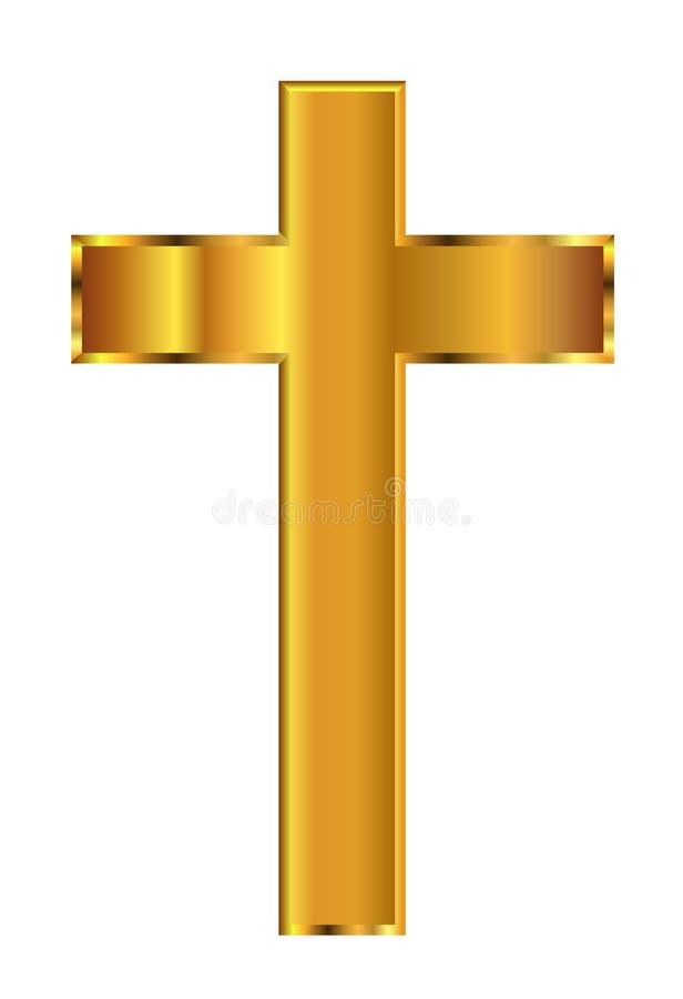 Złoty Chrześcijański krucyfiks royalty ilustracja