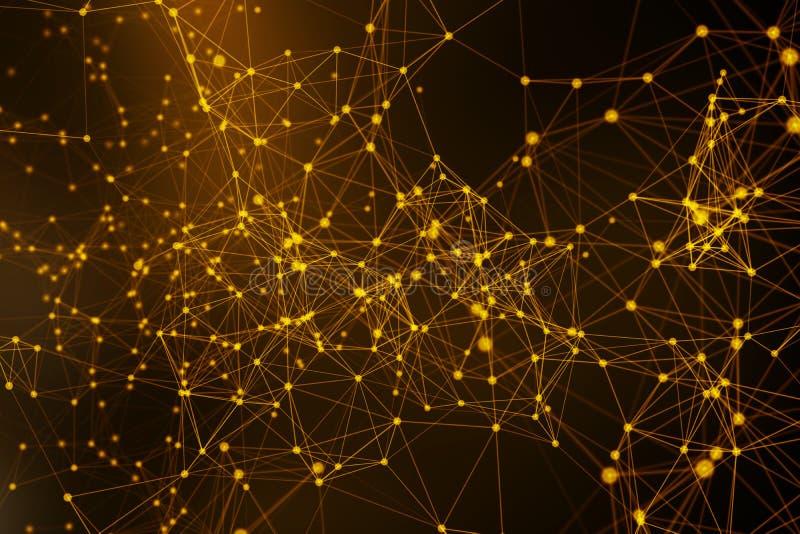Złoty cyfrowych dane i sieć związku trójbok wykłada i sfery w futurystycznym technologii pojęciu na czarnym tle, 3d royalty ilustracja