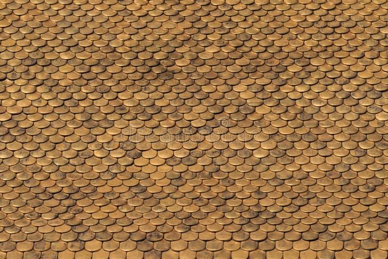 Złoty Dachowych płytek wzór fotografia stock