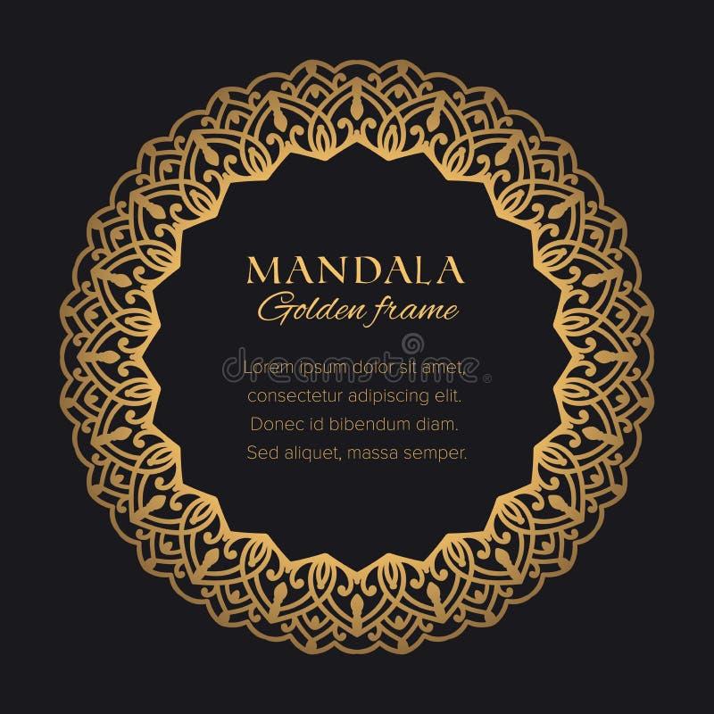 Złoty dekoracyjny graficzny element na czarnym tle royalty ilustracja