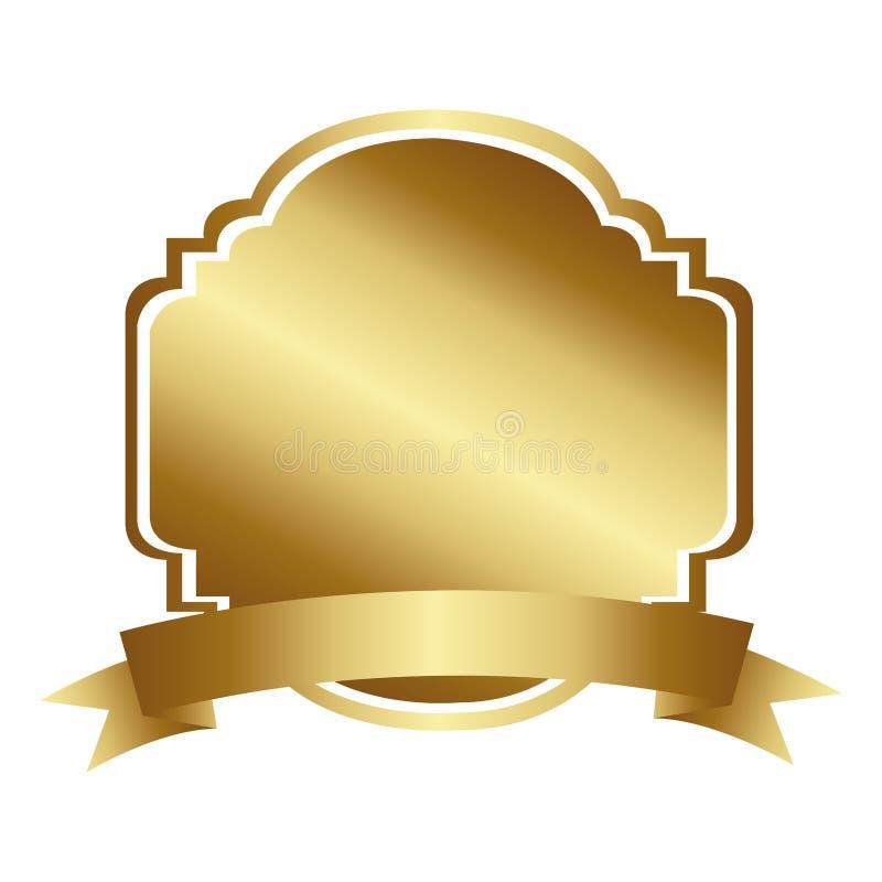 złoty dekoracyjny heraldyczny ramowy projekt z faborkiem royalty ilustracja