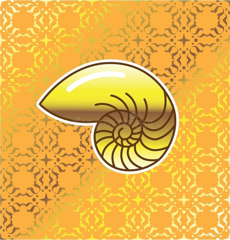 Złoty Denny Shell łodzik z złotym tło wektorem royalty ilustracja