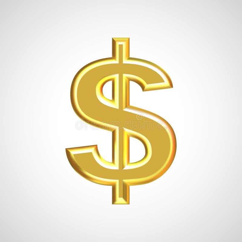 Złoty dolarowy znak, symbol/ royalty ilustracja