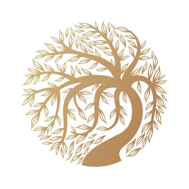 Złoty drzewny logo obrazy stock