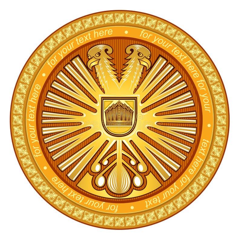 Złoty dwa głów orła okręgu wybrzeże ręka ilustracji