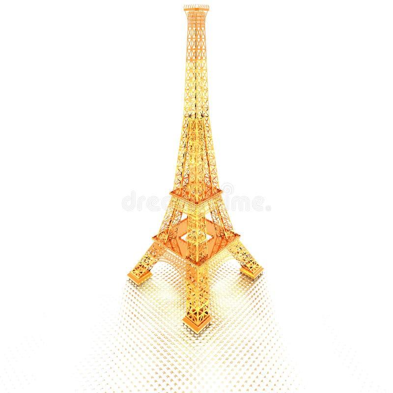 złoty Eiffel wierza Paris ilustracji