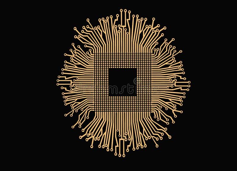 Złoty elektronika obwód, jednostka centralna odizolowywający na czarnym tle i ilustracja wektor
