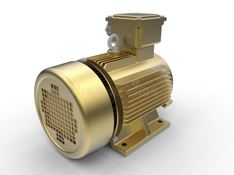 Złoty elektryczny silnik ilustracji