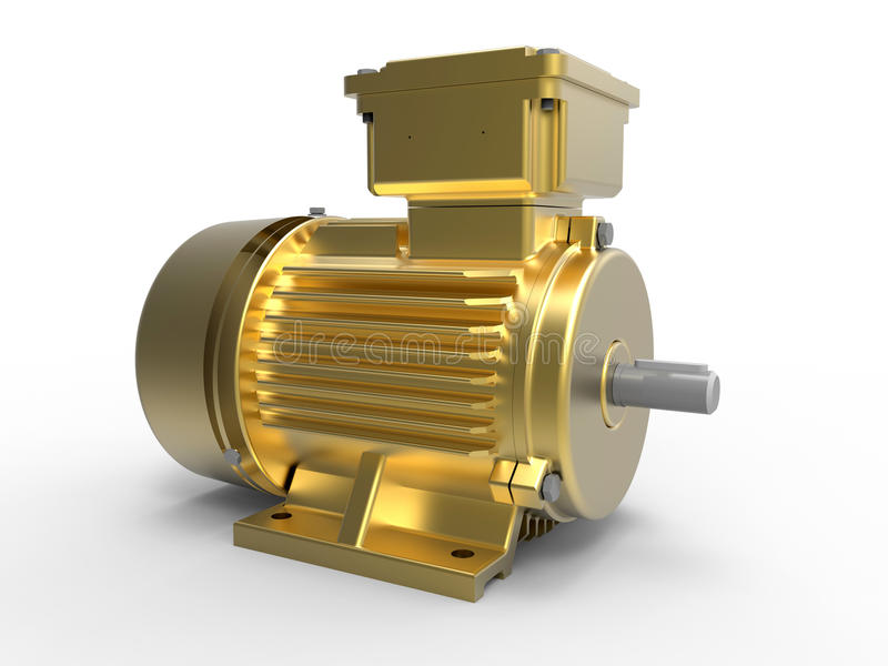 Złoty elektryczny silnik royalty ilustracja