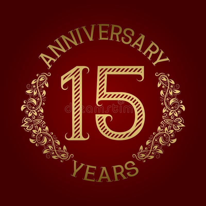 Złoty emblemat fifteenth rocznica Świętowanie wzorzystości znak na czerwieni royalty ilustracja