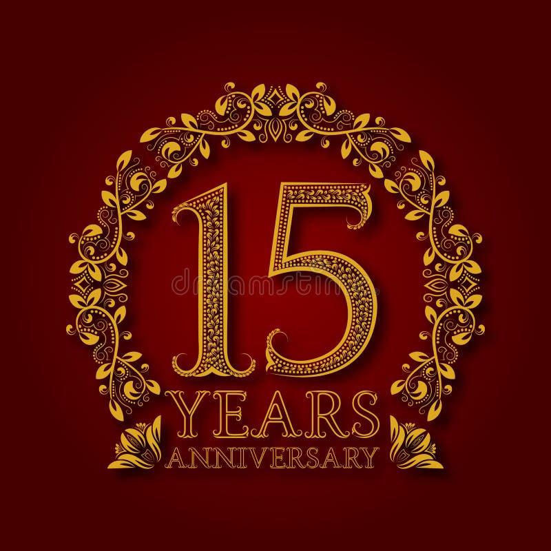 Złoty emblemat fifteenth rok rocznicowi Świętowanie deseniujący logotyp z cieniem na czerwieni ilustracja wektor