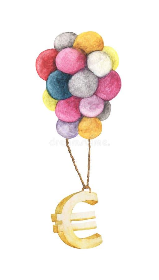 Złoty Euro obwieszenie z kolorowym balonem royalty ilustracja