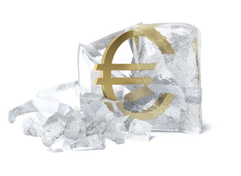 Złoty Euro symbol marznący wśrodku kostka lodu ilustracji