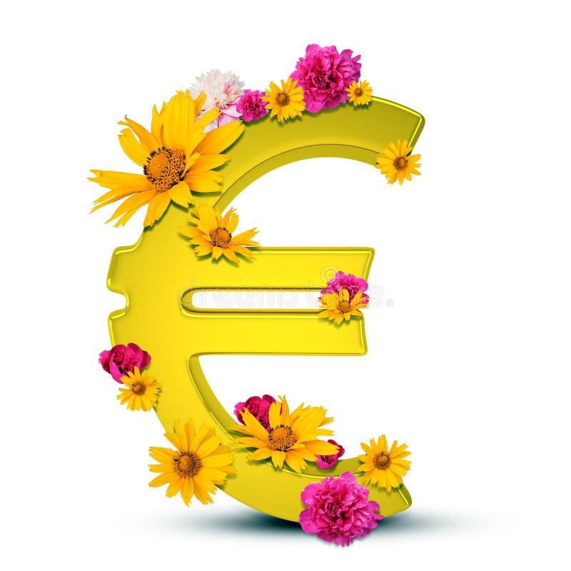 Złoty Euro znak obraz stock