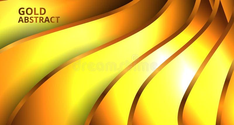 Złoty fali ściany tekstury papieru wycinanki luksusu łuny skutka ornamentu tło ilustracja wektor