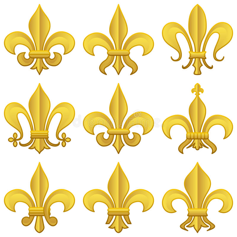 Złoty Fleur De Lys Set royalty ilustracja