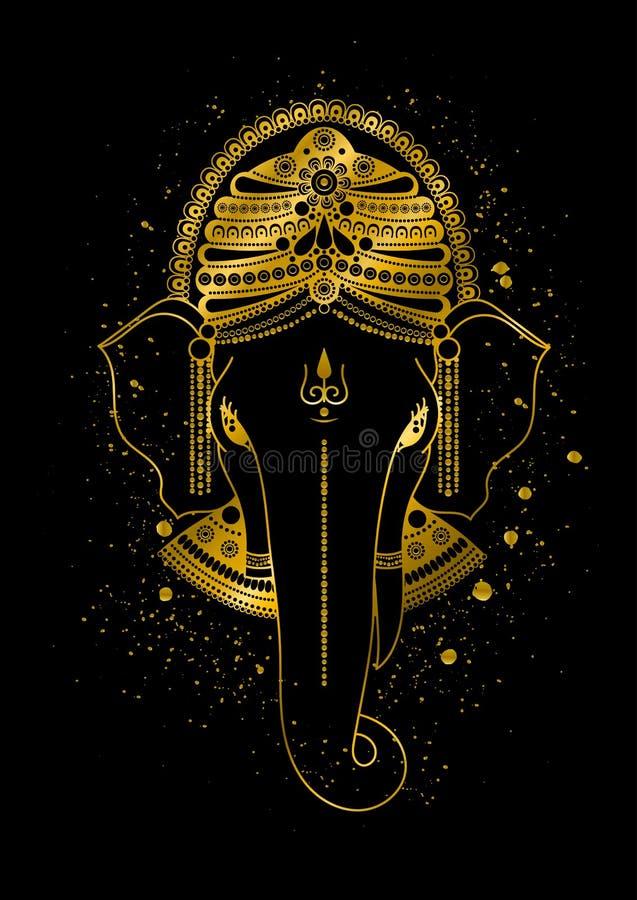 Złoty Ganesha wektor royalty ilustracja