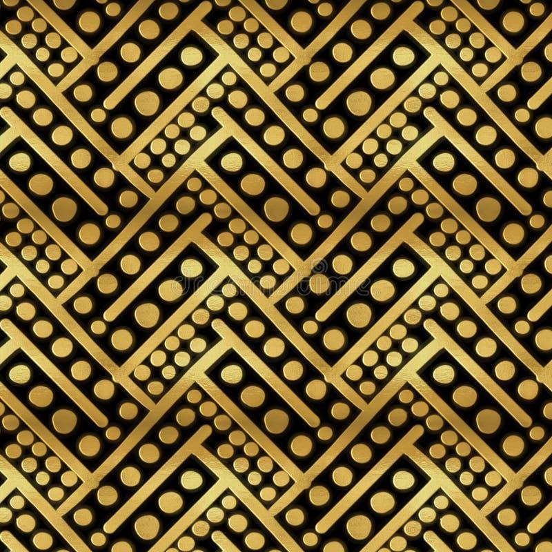 Złoty geometrical wielostrzałowy wzór z unikalną teksturą i pociągany ręcznie ilościami royalty ilustracja