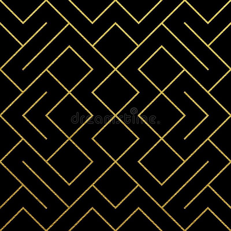 Złoty geometryczny deseniowy tło z abstrakcjonistyczną złocistą błyskotliwości siatki teksturą Wektorowy bezszwowy ozdobny geomet ilustracja wektor