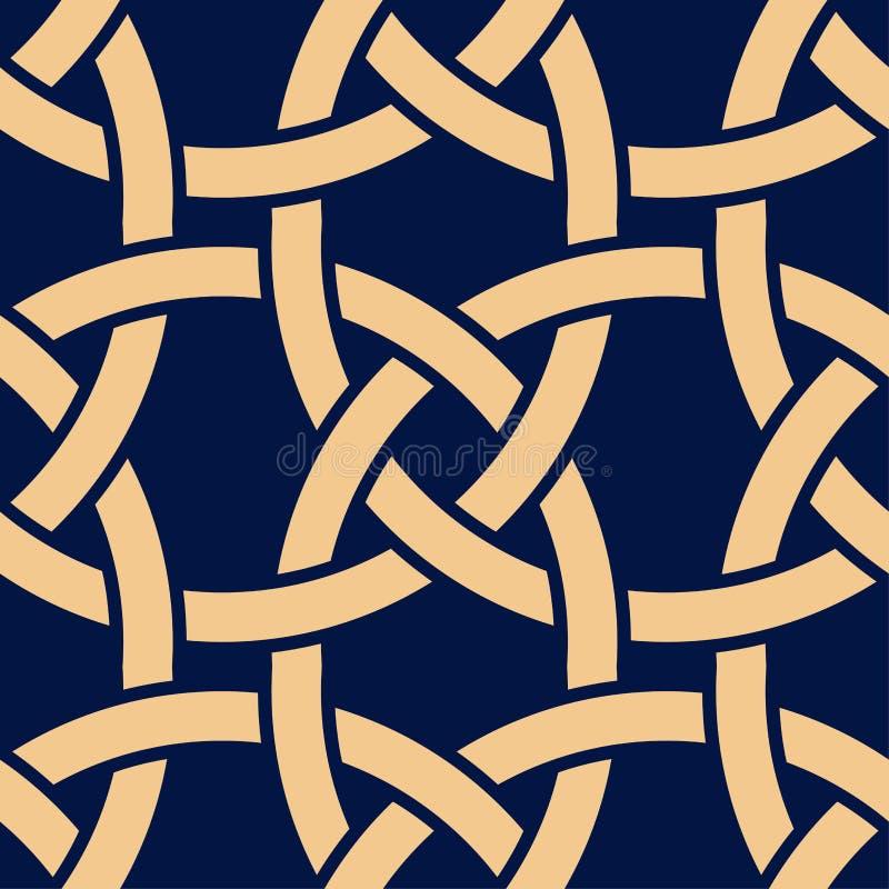 Złoty geometryczny druk na zmroku - błękitny tło bezszwowy wzoru royalty ilustracja