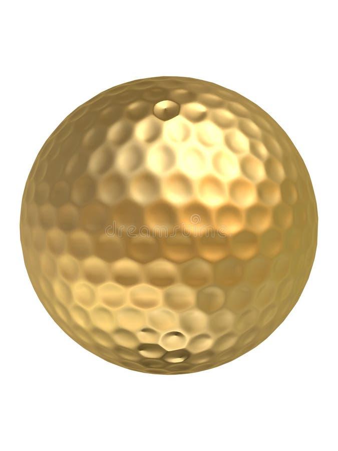 złoty golfball ilustracja wektor