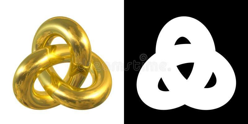 Złoty Gordyjskiej kępki znak, odbicie niebo - złocisty symbol odizolowywający na białym tle ilustracja wektor