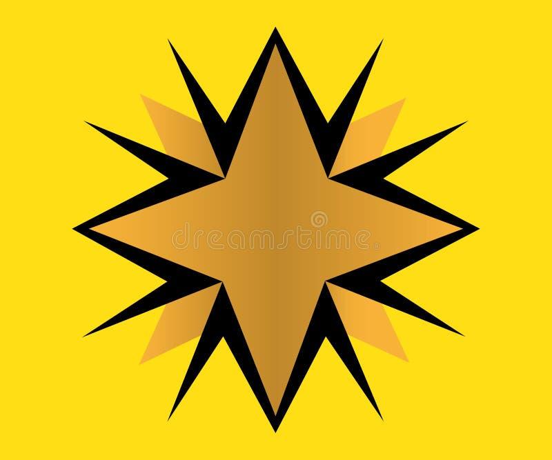 Złoty gwiazdowy logo ilustracja wektor