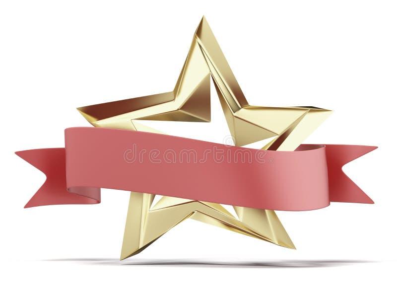 Złoty gwiazdy i czerwieni faborek ilustracja wektor