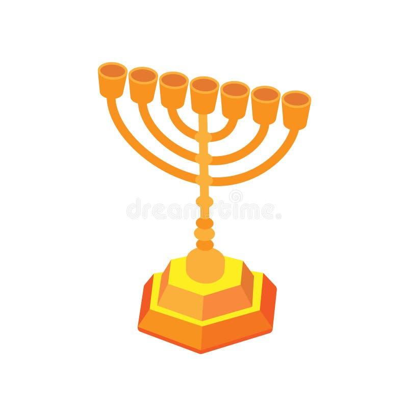 Złoty Hanukkah lub menorah Isometric płaska ilustracja, odizolowywająca ilustracja wektor