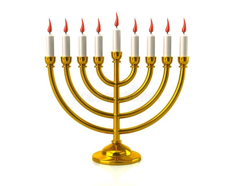 Złoty Hanukkah menorah z płonącymi świeczkami ilustracja wektor