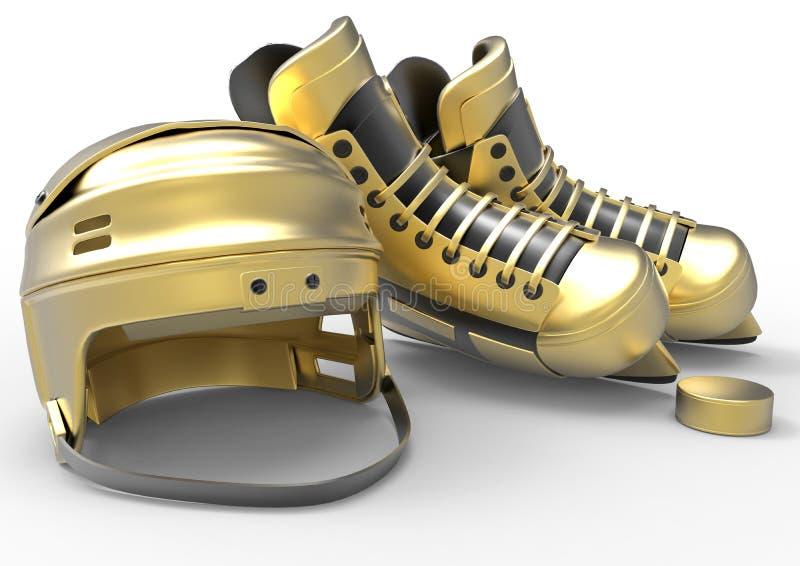 Złoty hokej jeździć na łyżwach ster i krążek hokojowego royalty ilustracja