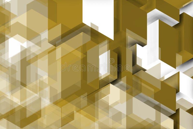 Złoty i biały skład dla błękit ściany royalty ilustracja