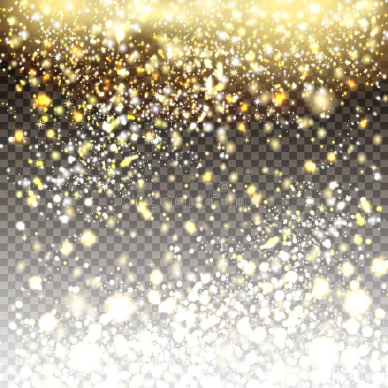 Złoty i srebny błyskotliwość cząsteczek tła skutek dla luksusu ilustracji