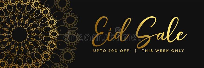 Złoty islamski mandala stylu eid sprzedaży sztandar ilustracja wektor