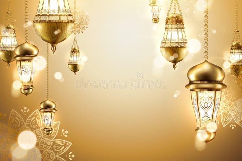 Złoty islamski tło ilustracji