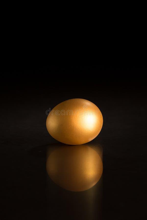 Złoty jajko przeciw czarnemu tłu fotografia stock