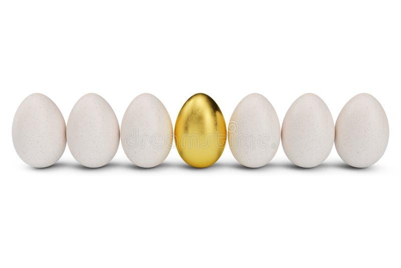 Złoty jajko wokoło białych jajek w rzędzie Złoty jajeczny zbliżenie Złoty jajko jako znak bogactwo, luksus Jajko jako symbol ilustracja wektor
