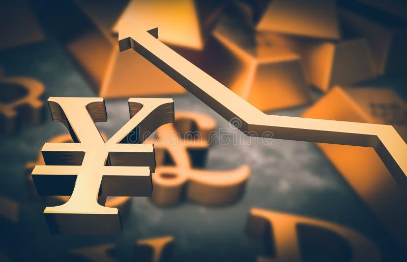 Złoty jenu symbol up i złota strzała ilustracji